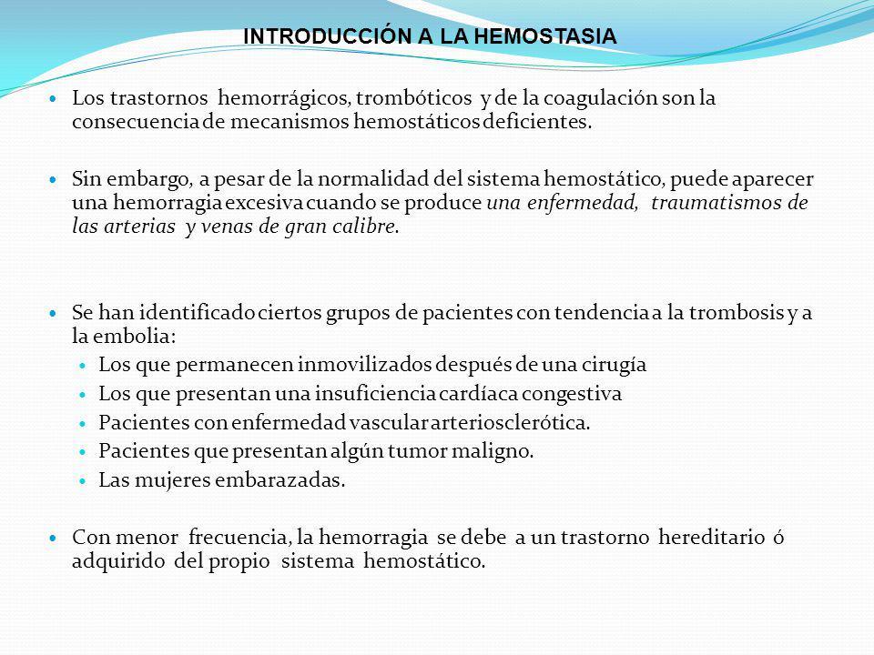 Los trastornos hemorrágicos, trombóticos y de la coagulación son la consecuencia de mecanismos hemostáticos deficientes.