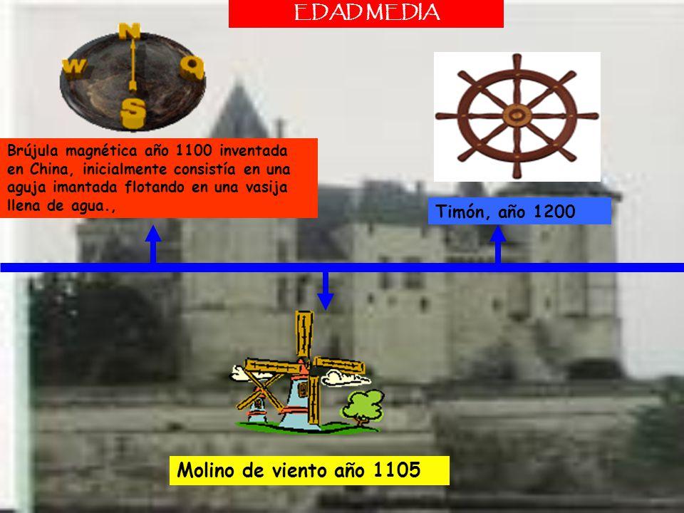 Brújula magnética año 1100 inventada en China, inicialmente consistía en una aguja imantada flotando en una vasija llena de agua., Timón, año 1200 EDA