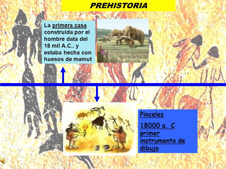 PREHISTORIA Pinceles 18000 a. C primer instrumento de dibujo La primera casa construida por el hombre data del 18 mil A.C.. y estaba hecha con huesos
