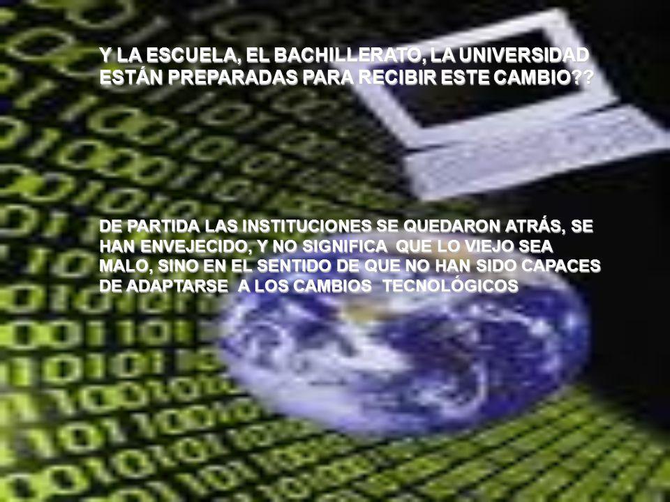 Y LA ESCUELA, EL BACHILLERATO, LA UNIVERSIDAD ESTÁN PREPARADAS PARA RECIBIR ESTE CAMBIO?? DE PARTIDA LAS INSTITUCIONES SE QUEDARON ATRÁS, SE HAN ENVEJ