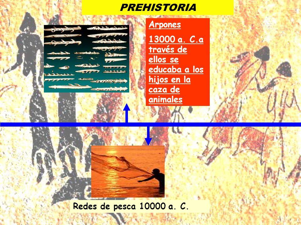 PREHISTORIA Redes de pesca 10000 a. C. Arpones 13000 a. C.a través de ellos se educaba a los hijos en la caza de animales