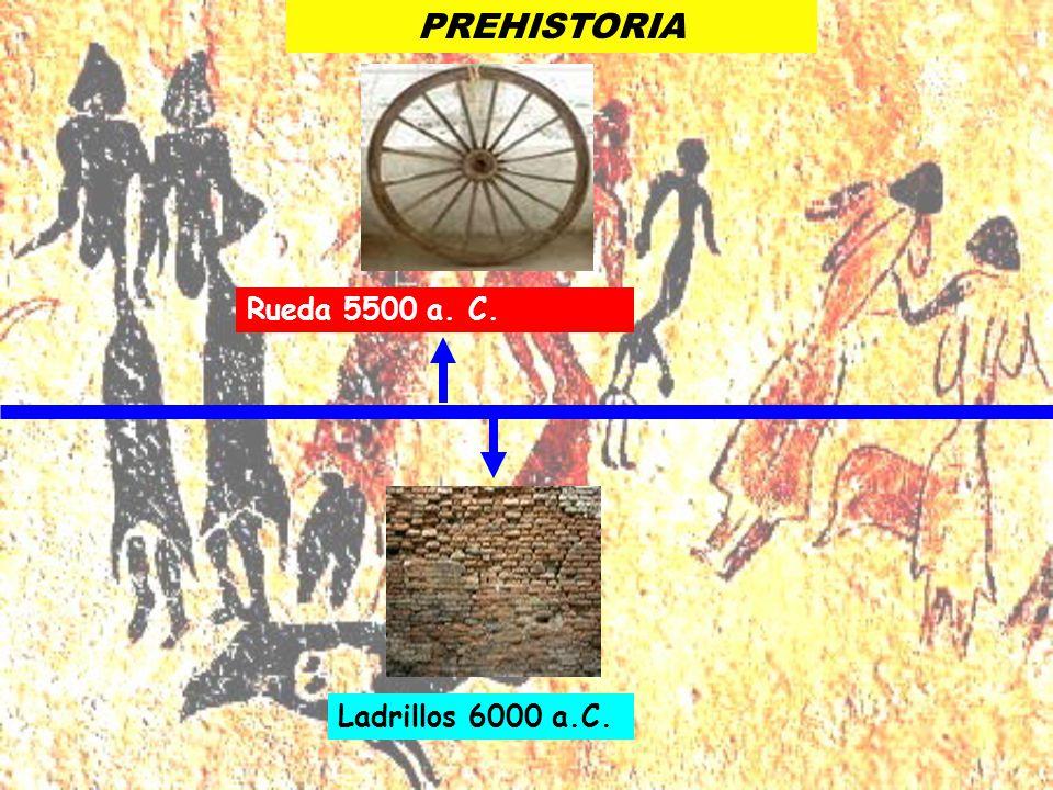 Ladrillos 6000 a.C. Rueda 5500 a. C. PREHISTORIA