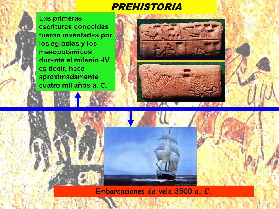 Embarcaciones de vela 3500 a. C. Las primeras escrituras conocidas fueron inventadas por los egipcios y los mesopotámicos durante el milenio -IV, es d