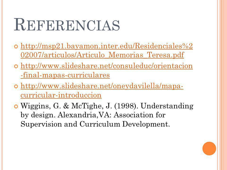 R EFERENCIAS http://msp21.bayamon.inter.edu/Residenciales%2 02007/articulos/Articulo_Memorias_Teresa.pdf http://msp21.bayamon.inter.edu/Residenciales%