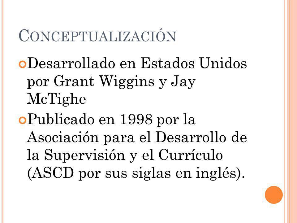 C ONCEPTUALIZACIÓN Desarrollado en Estados Unidos por Grant Wiggins y Jay McTighe Publicado en 1998 por la Asociación para el Desarrollo de la Supervi