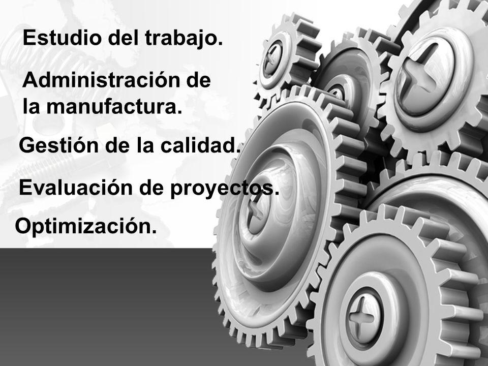 Administración de la manufactura. Gestión de la calidad. Estudio del trabajo. Evaluación de proyectos. Optimización.