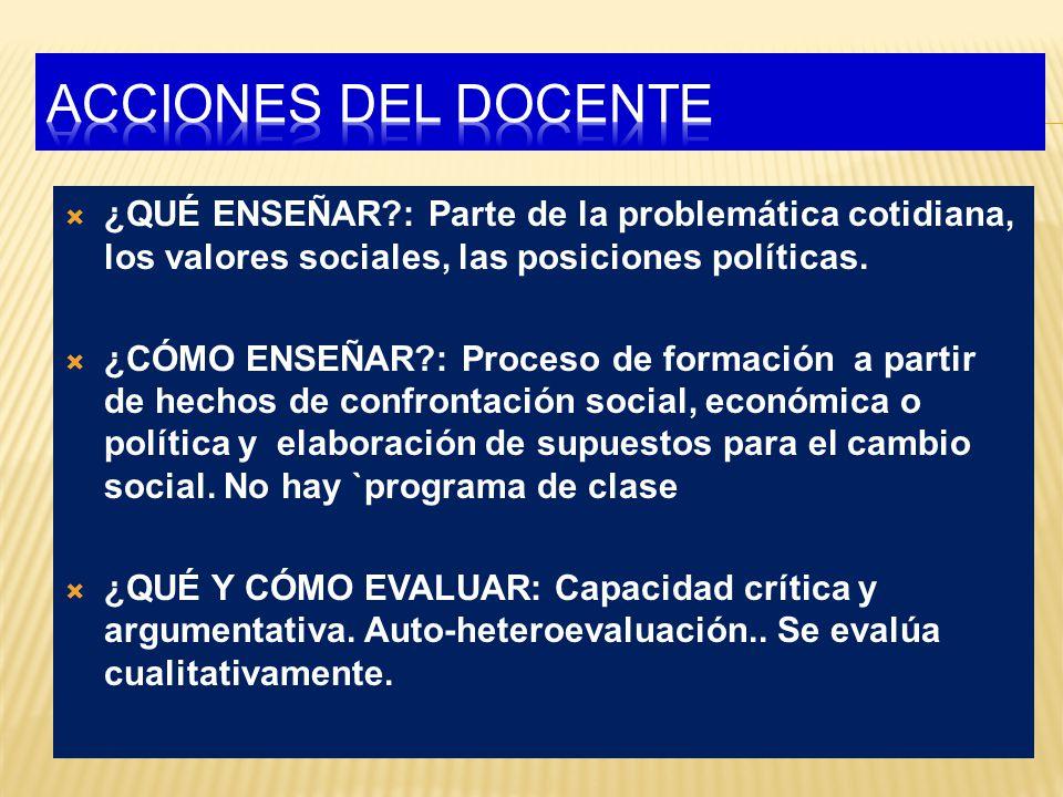 ¿QUÉ ENSEÑAR?: Parte de la problemática cotidiana, los valores sociales, las posiciones políticas.