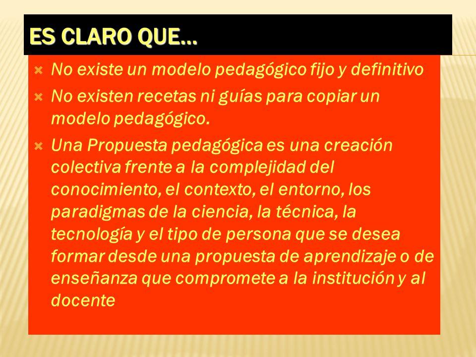 ES CLARO QUE… No existe un modelo pedagógico fijo y definitivo No existen recetas ni guías para copiar un modelo pedagógico.