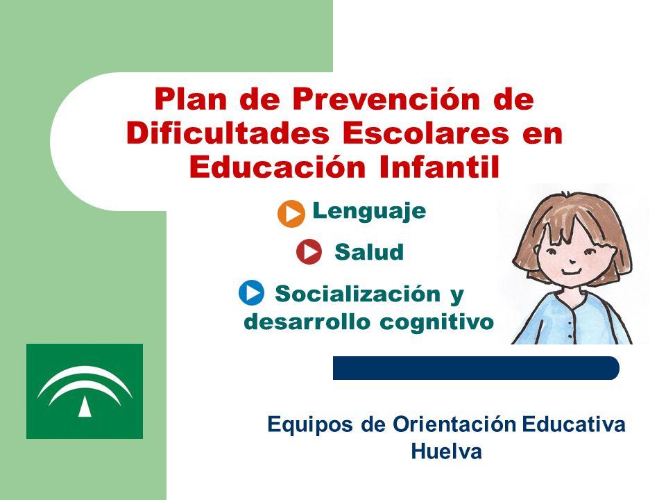 Plan de Prevención de Dificultades Escolares en Educación Infantil Equipos de Orientación Educativa Huelva Lenguaje Salud Socialización y desarrollo cognitivo