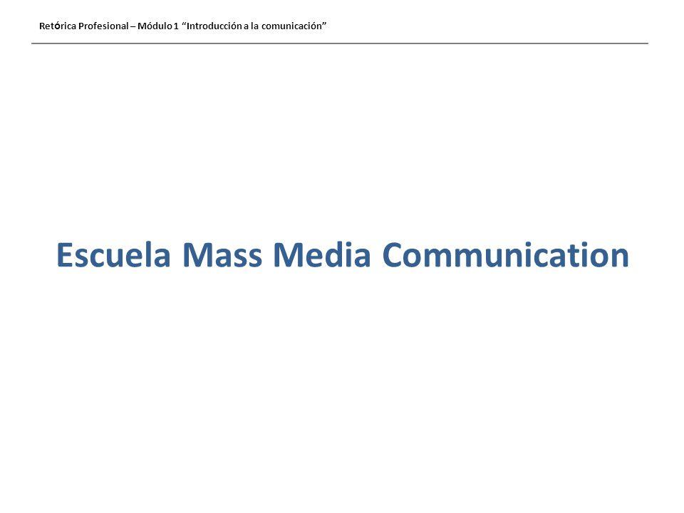 Escuela Mass Media Communication Ret ó rica Profesional – Módulo 1 Introducción a la comunicación