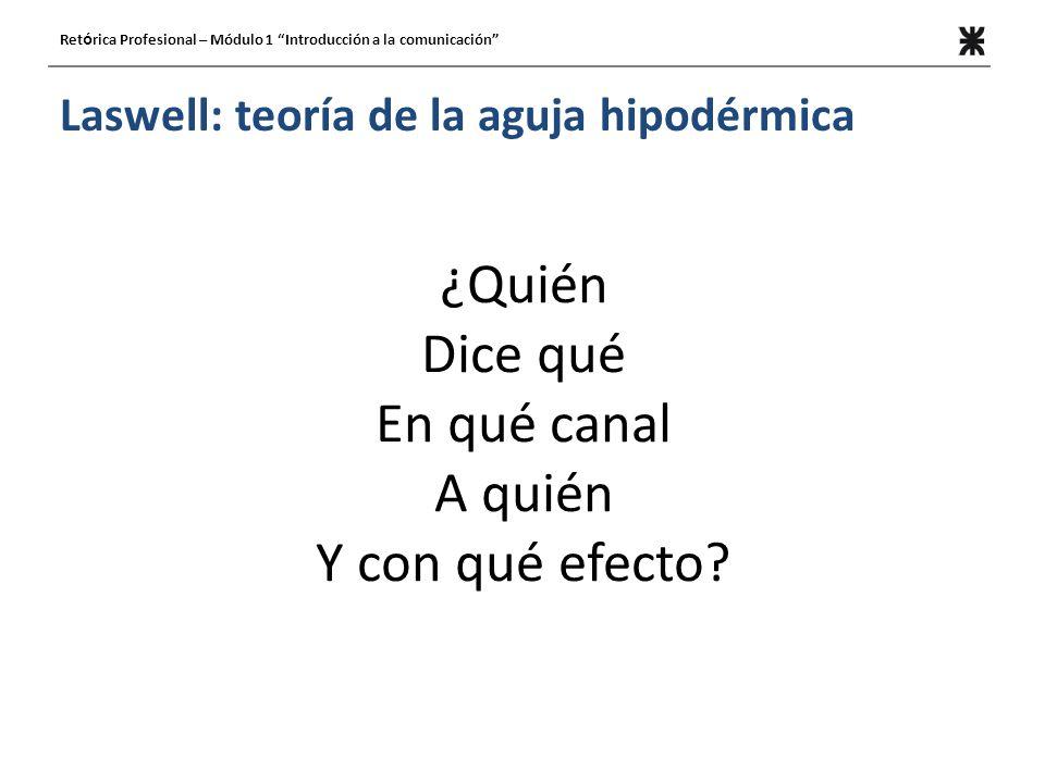 Laswell: teoría de la aguja hipodérmica ¿Quién Dice qué En qué canal A quién Y con qué efecto.