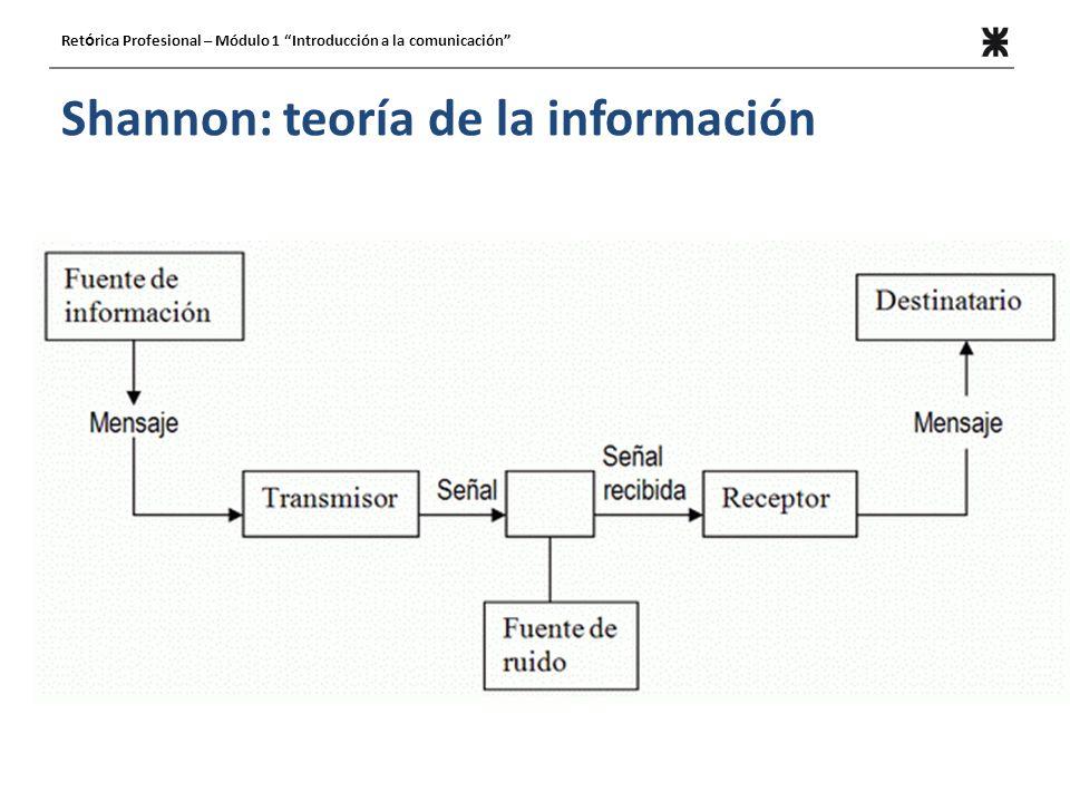 Shannon: teoría de la información Ret ó rica Profesional – Módulo 1 Introducción a la comunicación