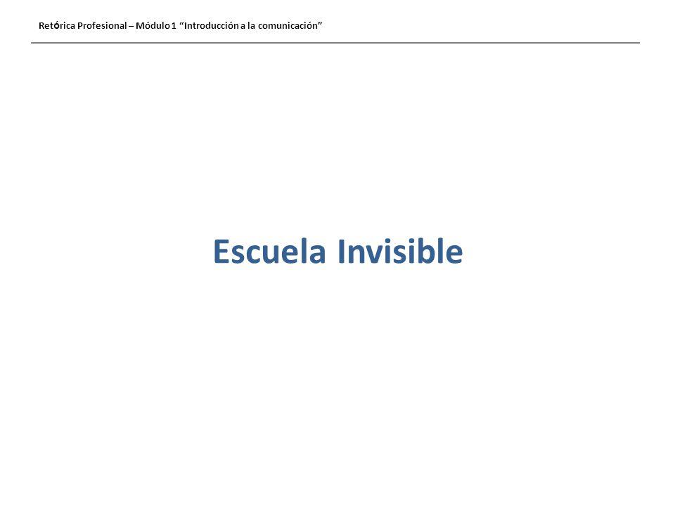 Escuela Invisible Ret ó rica Profesional – Módulo 1 Introducción a la comunicación