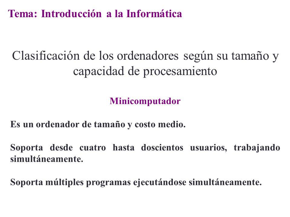 Minicomputador Es un ordenador de tamaño y costo medio. Soporta desde cuatro hasta doscientos usuarios, trabajando simultáneamente. Soporta múltiples