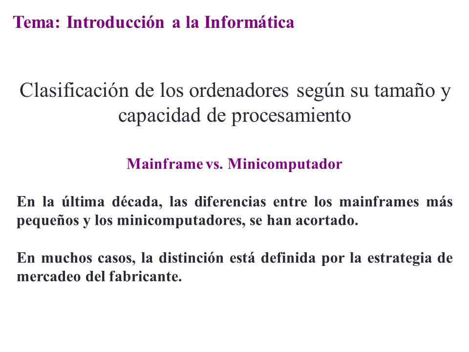 Mainframe vs. Minicomputador En la última década, las diferencias entre los mainframes más pequeños y los minicomputadores, se han acortado. En muchos