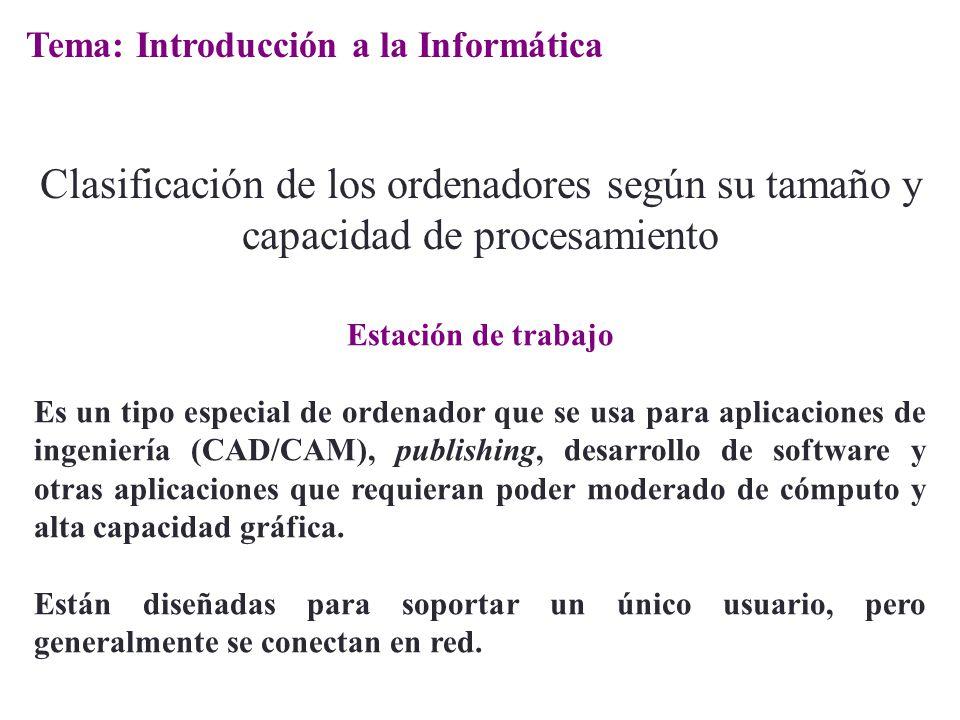 Estación de trabajo Es un tipo especial de ordenador que se usa para aplicaciones de ingeniería (CAD/CAM), publishing, desarrollo de software y otras
