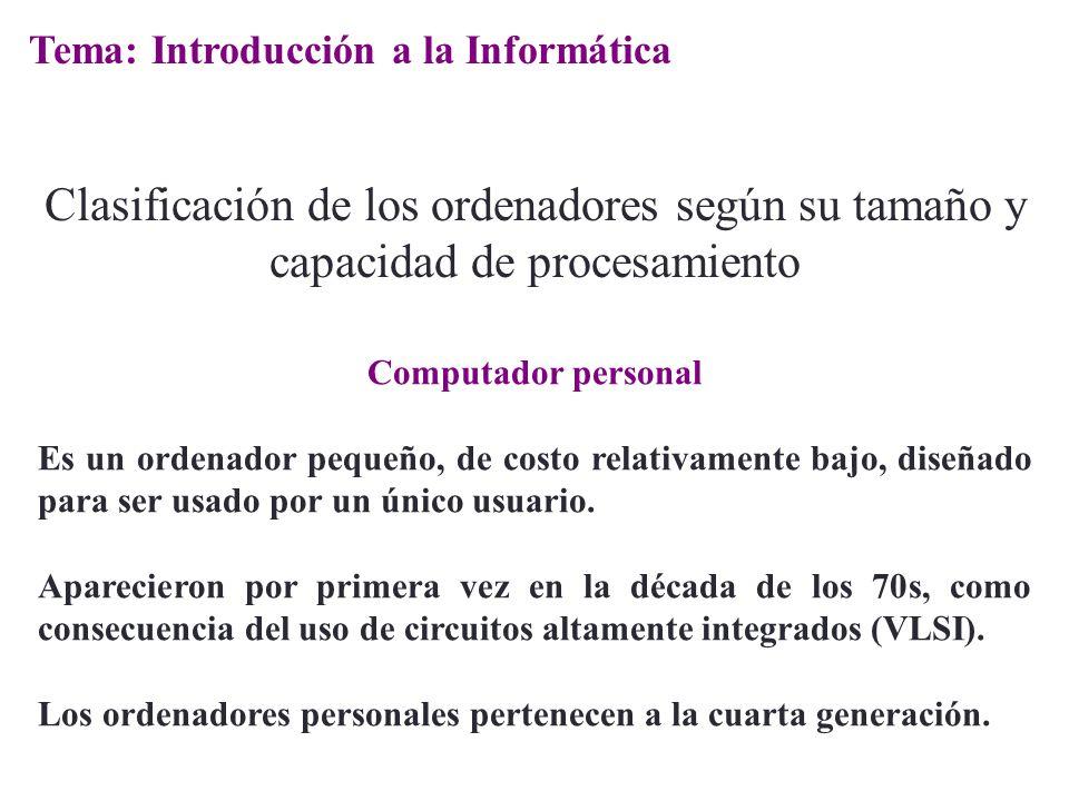 Computador personal Es un ordenador pequeño, de costo relativamente bajo, diseñado para ser usado por un único usuario. Aparecieron por primera vez en