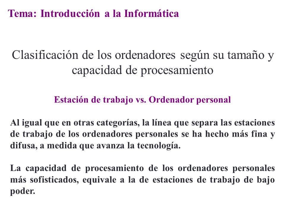 Estación de trabajo vs. Ordenador personal Al igual que en otras categorías, la línea que separa las estaciones de trabajo de los ordenadores personal