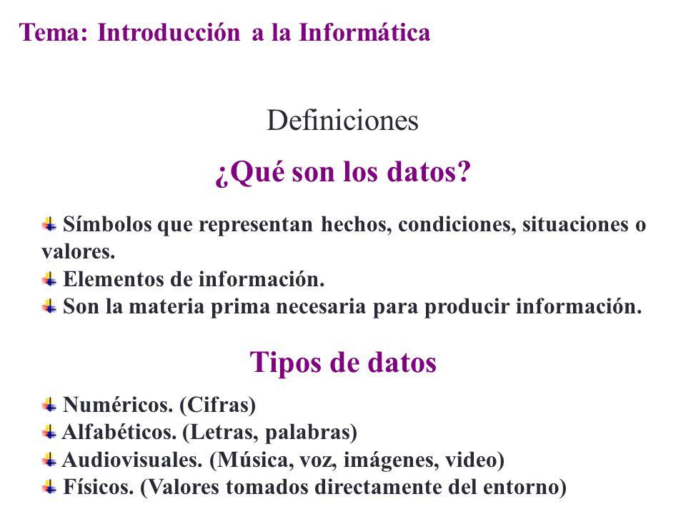 Símbolos que representan hechos, condiciones, situaciones o valores. Elementos de información. Son la materia prima necesaria para producir informació