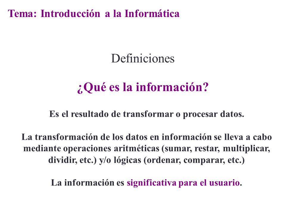 Definiciones ¿Qué es la información? Es el resultado de transformar o procesar datos. La transformación de los datos en información se lleva a cabo me