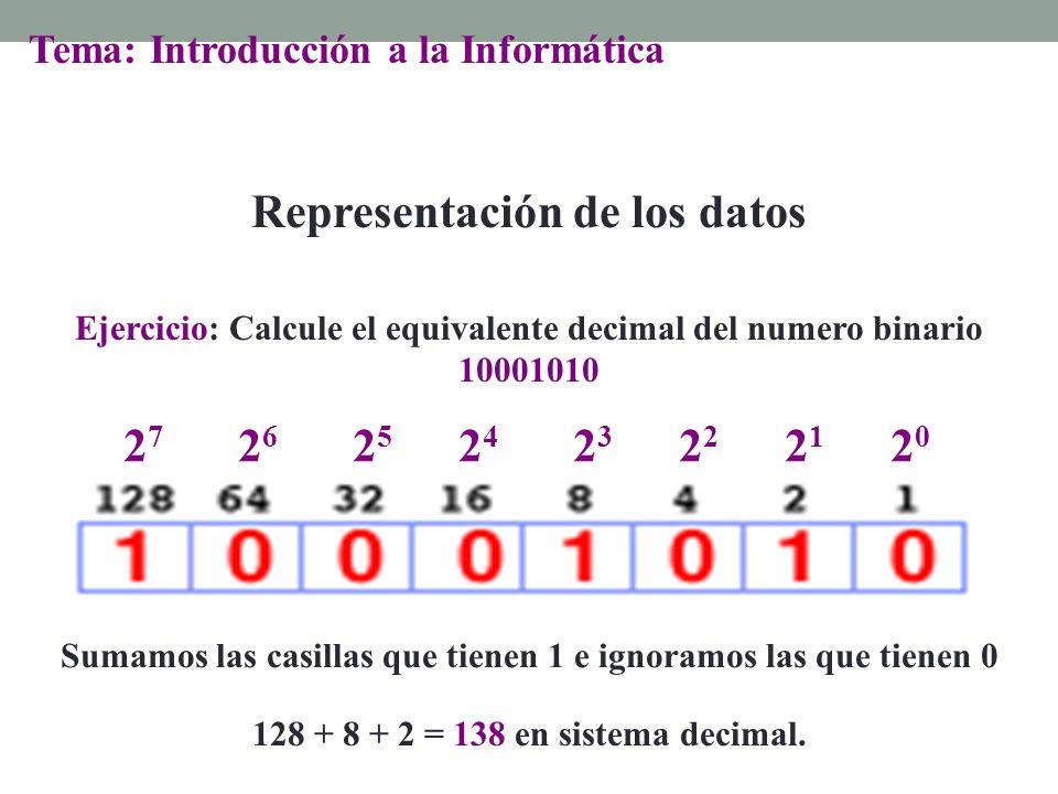 Sumamos las casillas que tienen 1 e ignoramos las que tienen 0 2020 2121 2727 2626 2525 2424 23232 128 + 8 + 2 = 138 en sistema decimal. Ejercicio: Ca