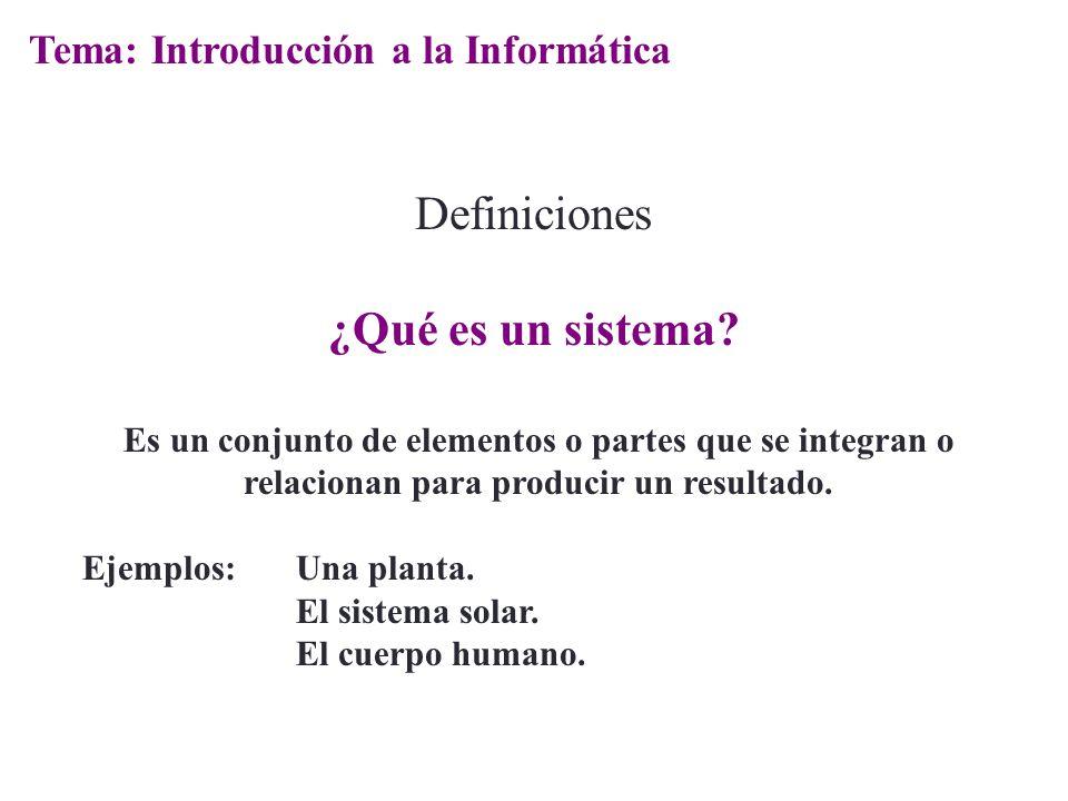 Definiciones ¿Qué es un sistema? Es un conjunto de elementos o partes que se integran o relacionan para producir un resultado. Ejemplos:Una planta. El