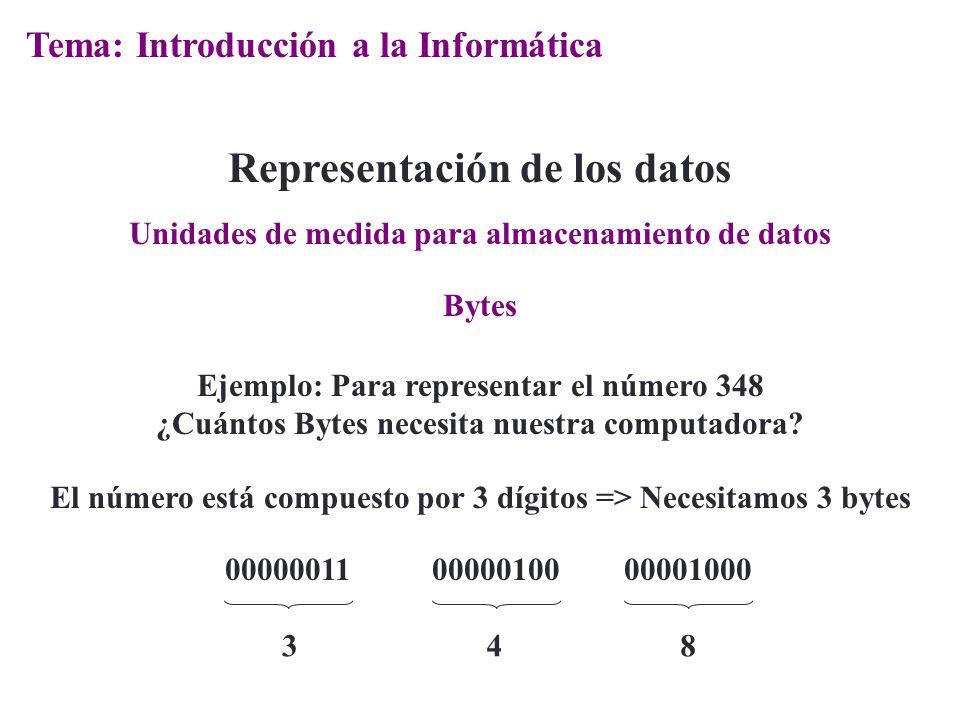 Bytes Representación de los datos Ejemplo: Para representar el número 348 ¿Cuántos Bytes necesita nuestra computadora? Unidades de medida para almacen