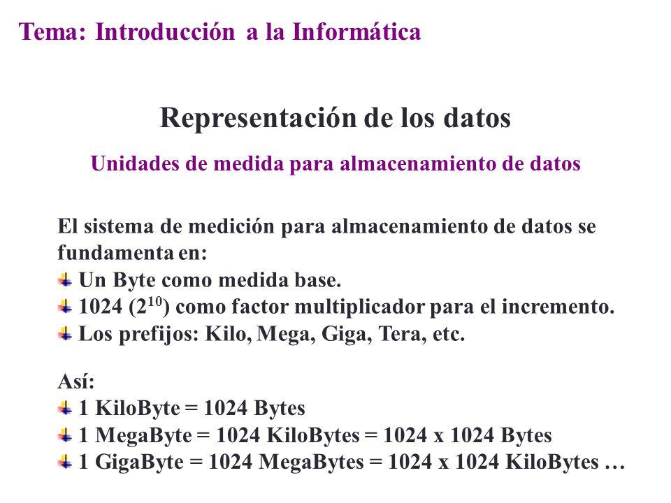 El sistema de medición para almacenamiento de datos se fundamenta en: Un Byte como medida base. 1024 (2 10 ) como factor multiplicador para el increme
