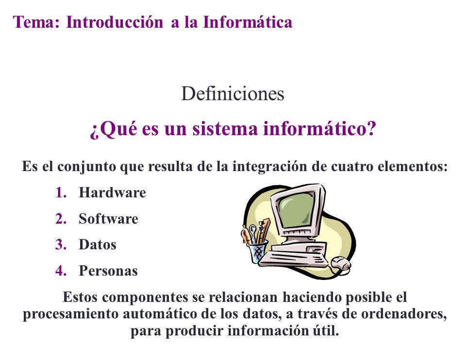Es el conjunto que resulta de la integración de cuatro elementos: 1.Hardware 2.Software 3.Datos 4.Personas Estos componentes se relacionan haciendo po