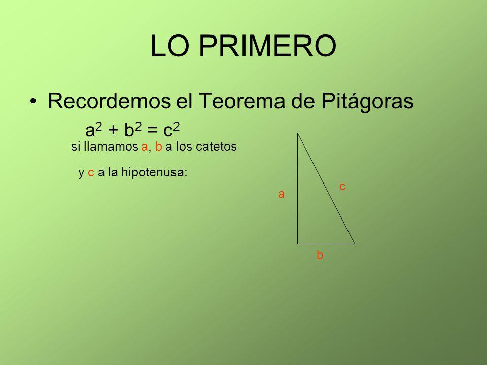 LO PRIMERO Recordemos el Teorema de Pitágoras a 2 + b 2 = c 2 si llamamos a, b a los catetos y c a la hipotenusa: a b c