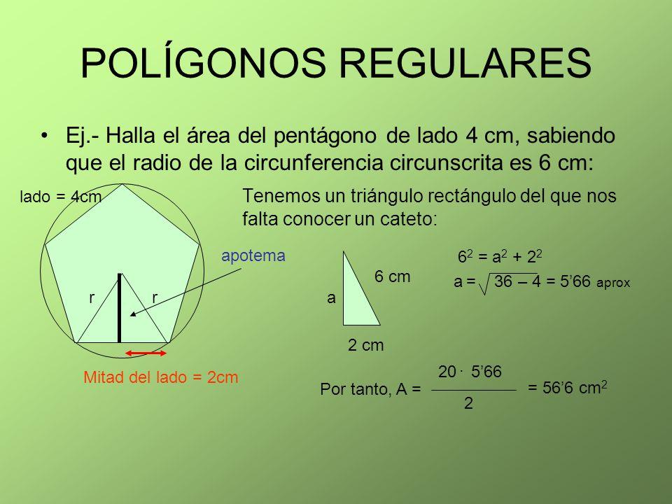 POLÍGONOS REGULARES Ej.- Halla el área del pentágono de lado 4 cm, sabiendo que el radio de la circunferencia circunscrita es 6 cm: Tenemos un triángu