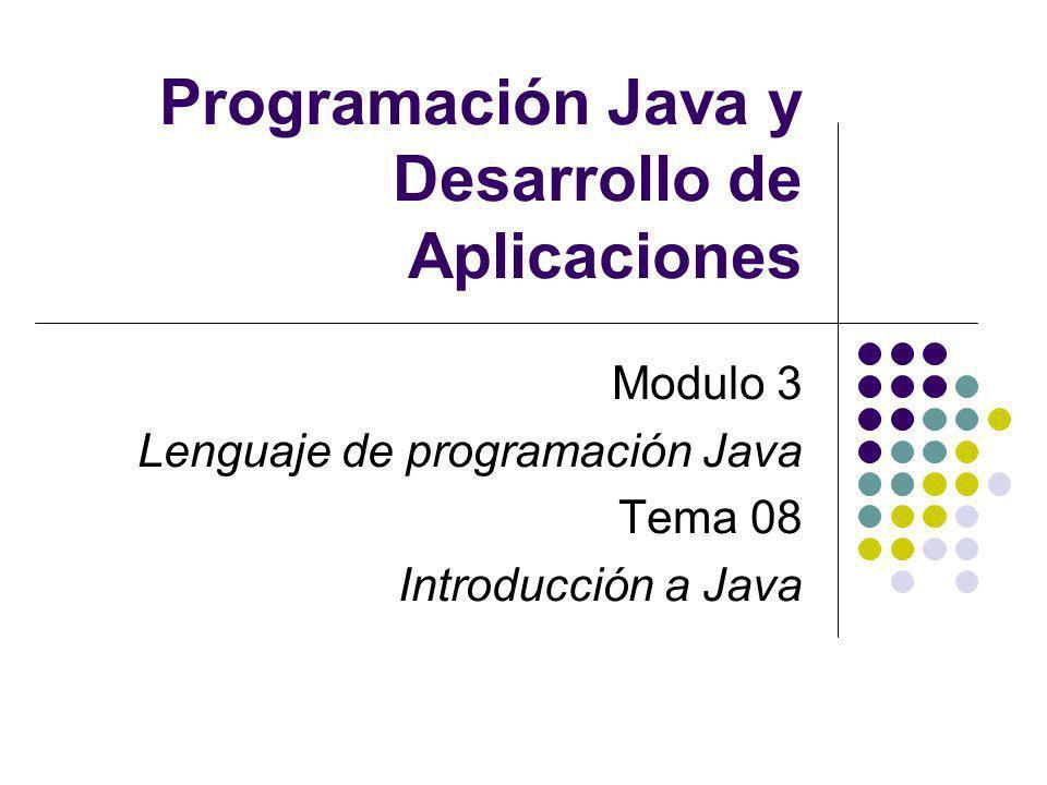 Programación Java y Desarrollo de Aplicaciones Modulo 3 Lenguaje de programación Java Tema 08 Introducción a Java