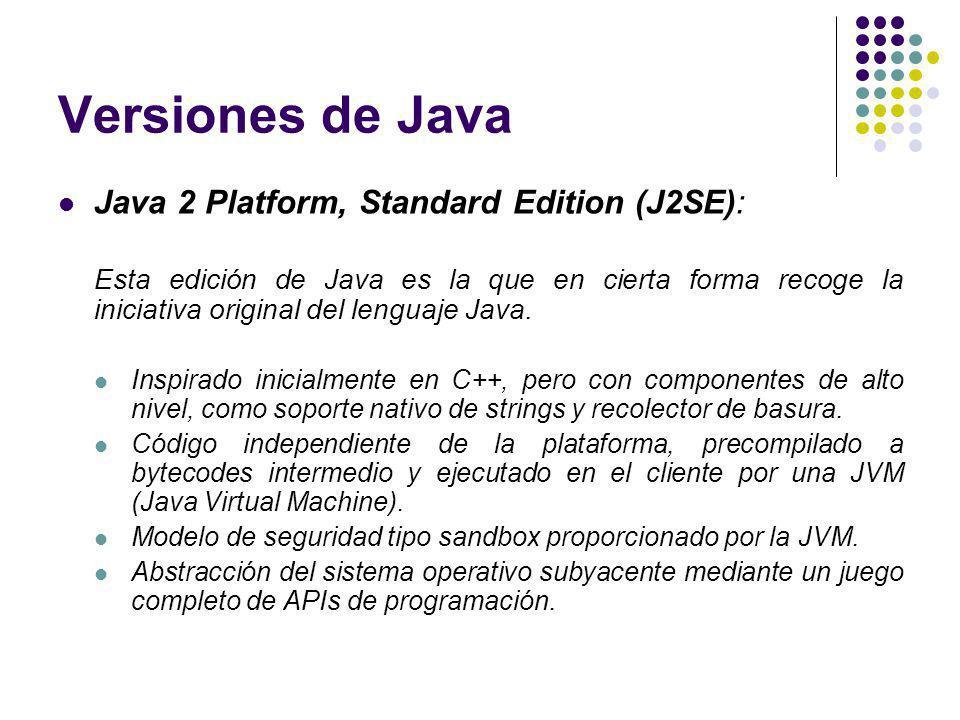 Versiones de Java Java 2 Platform, Standard Edition (J2SE): Esta edición de Java es la que en cierta forma recoge la iniciativa original del lenguaje Java.