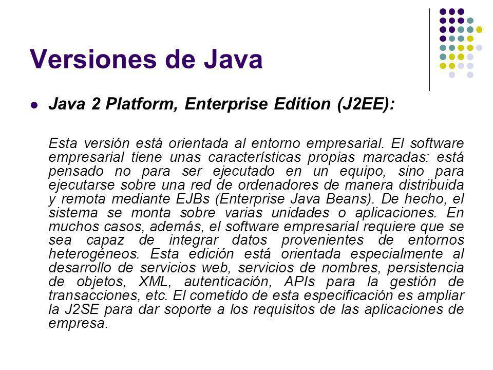 Versiones de Java Java 2 Platform, Enterprise Edition (J2EE): Esta versión está orientada al entorno empresarial. El software empresarial tiene unas c