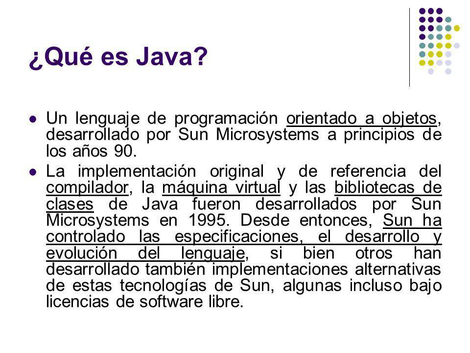 ¿Qué es Java? Un lenguaje de programación orientado a objetos, desarrollado por Sun Microsystems a principios de los años 90. La implementación origin