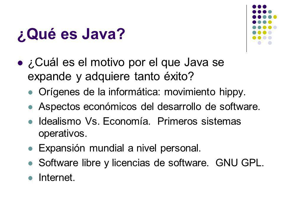 ¿Qué es Java? ¿Cuál es el motivo por el que Java se expande y adquiere tanto éxito? Orígenes de la informática: movimiento hippy. Aspectos económicos