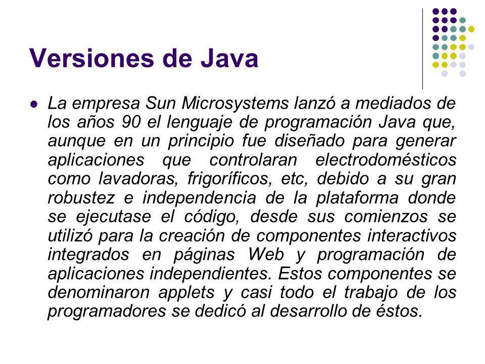 Versiones de Java La empresa Sun Microsystems lanzó a mediados de los años 90 el lenguaje de programación Java que, aunque en un principio fue diseñado para generar aplicaciones que controlaran electrodomésticos como lavadoras, frigoríficos, etc, debido a su gran robustez e independencia de la plataforma donde se ejecutase el código, desde sus comienzos se utilizó para la creación de componentes interactivos integrados en páginas Web y programación de aplicaciones independientes.