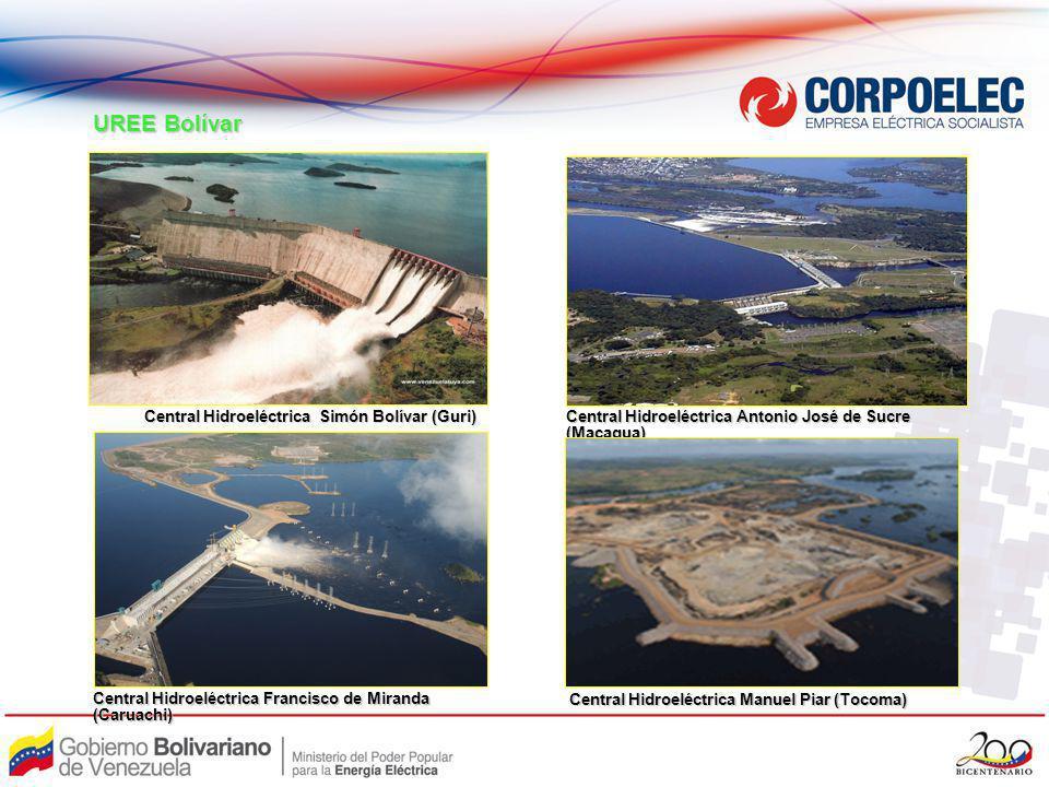 Central Hidroeléctrica Francisco de Miranda (Caruachi) Central Hidroeléctrica Antonio José de Sucre (Macagua) Central Hidroeléctrica Manuel Piar (Toco