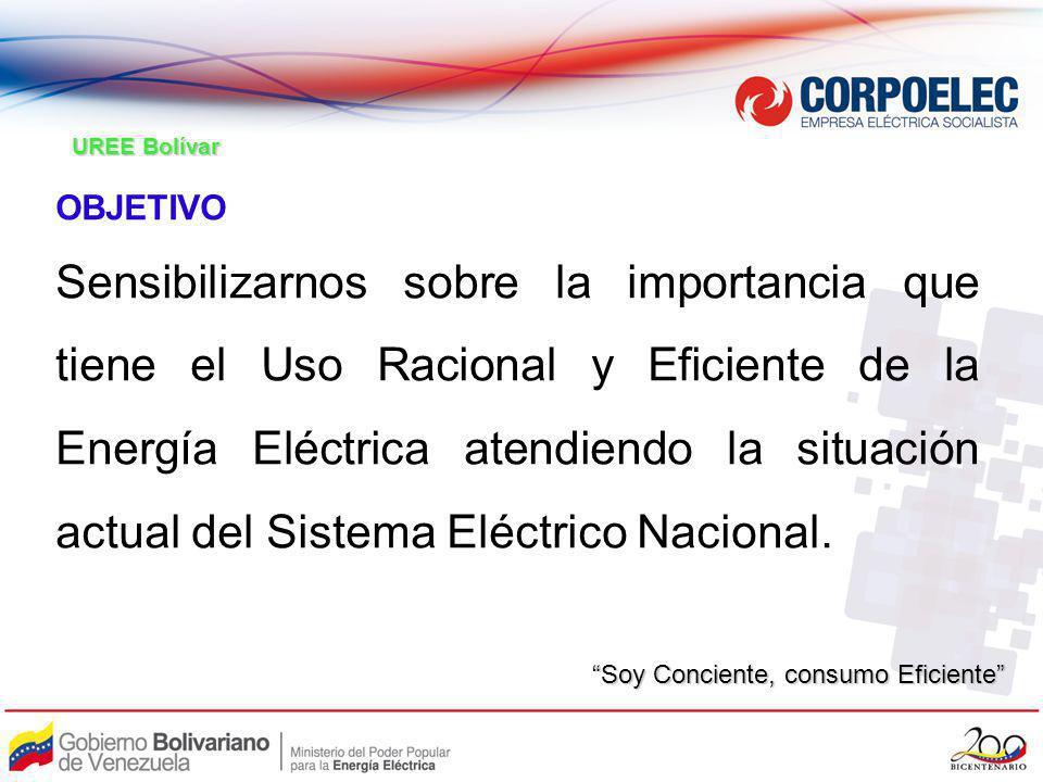 OBJETIVO Sensibilizarnos sobre la importancia que tiene el Uso Racional y Eficiente de la Energía Eléctrica atendiendo la situación actual del Sistema