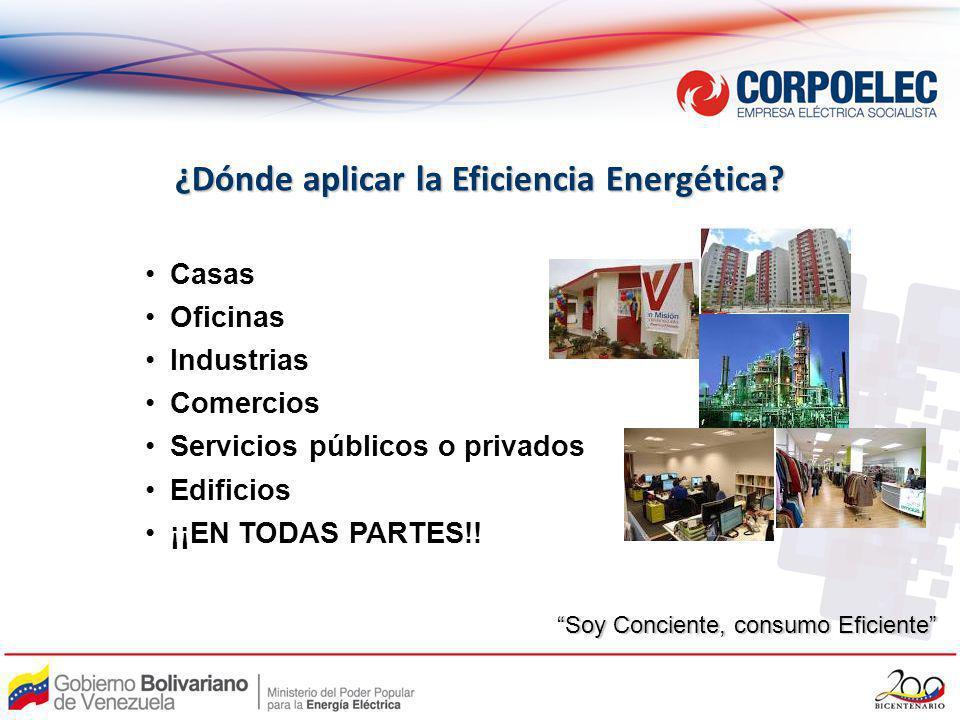 ¿Dónde aplicar la Eficiencia Energética? Casas Oficinas Industrias Comercios Servicios públicos o privados Edificios ¡¡EN TODAS PARTES!! Soy Conciente