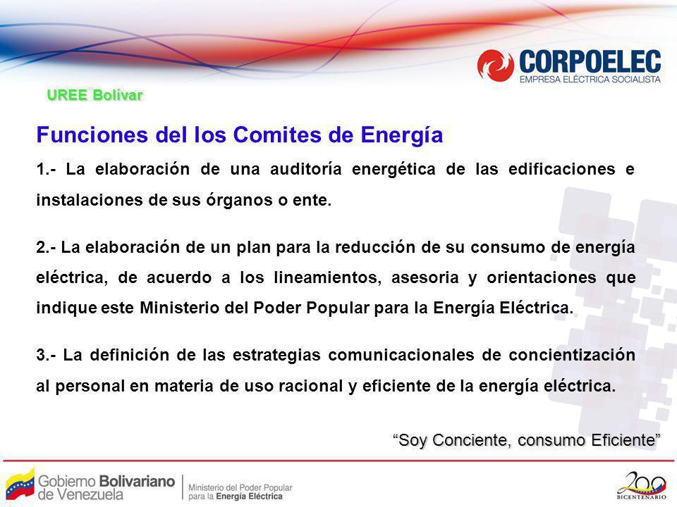 Funciones del los Comites de Energía 1.- La elaboración de una auditoría energética de las edificaciones e instalaciones de sus órganos o ente. 2.- La