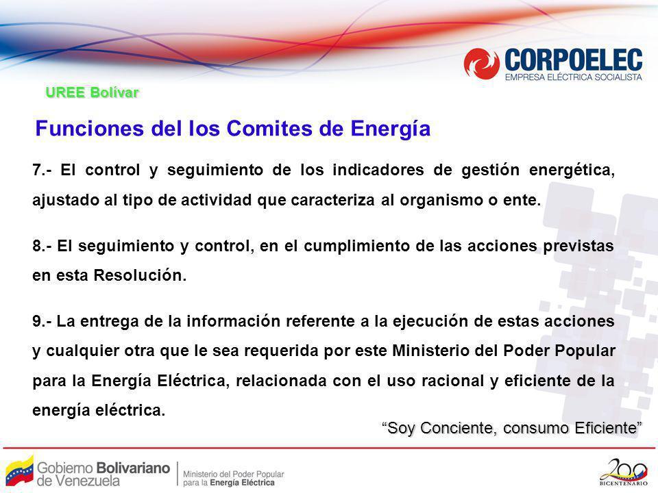 Funciones del los Comites de Energía 7.- El control y seguimiento de los indicadores de gestión energética, ajustado al tipo de actividad que caracter