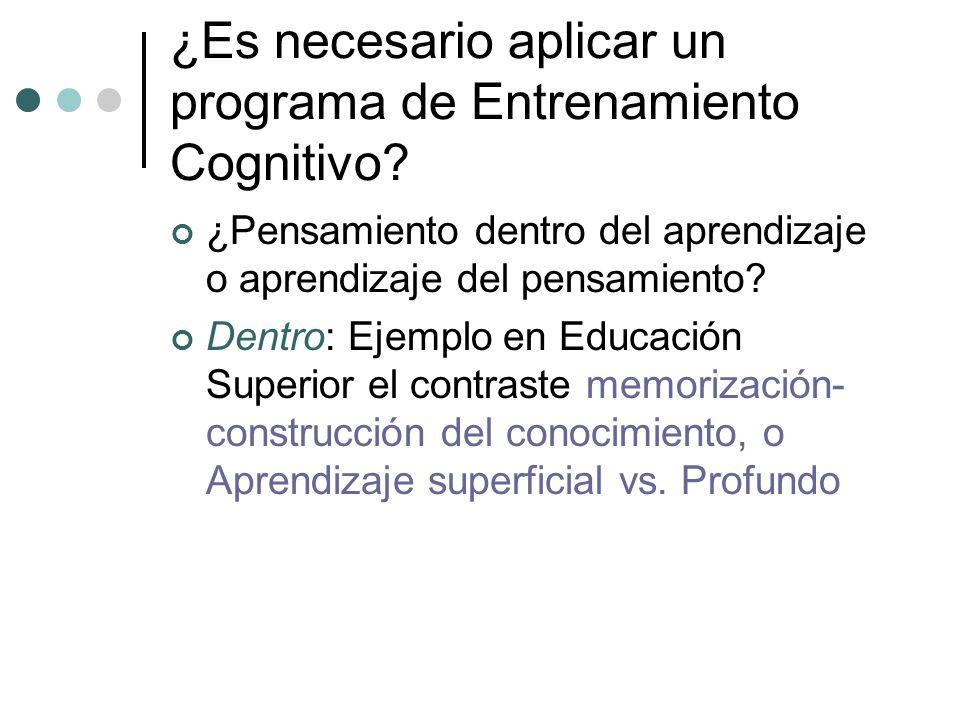 ¿Es necesario aplicar un programa de Entrenamiento Cognitivo? ¿Pensamiento dentro del aprendizaje o aprendizaje del pensamiento? Dentro: Ejemplo en Ed