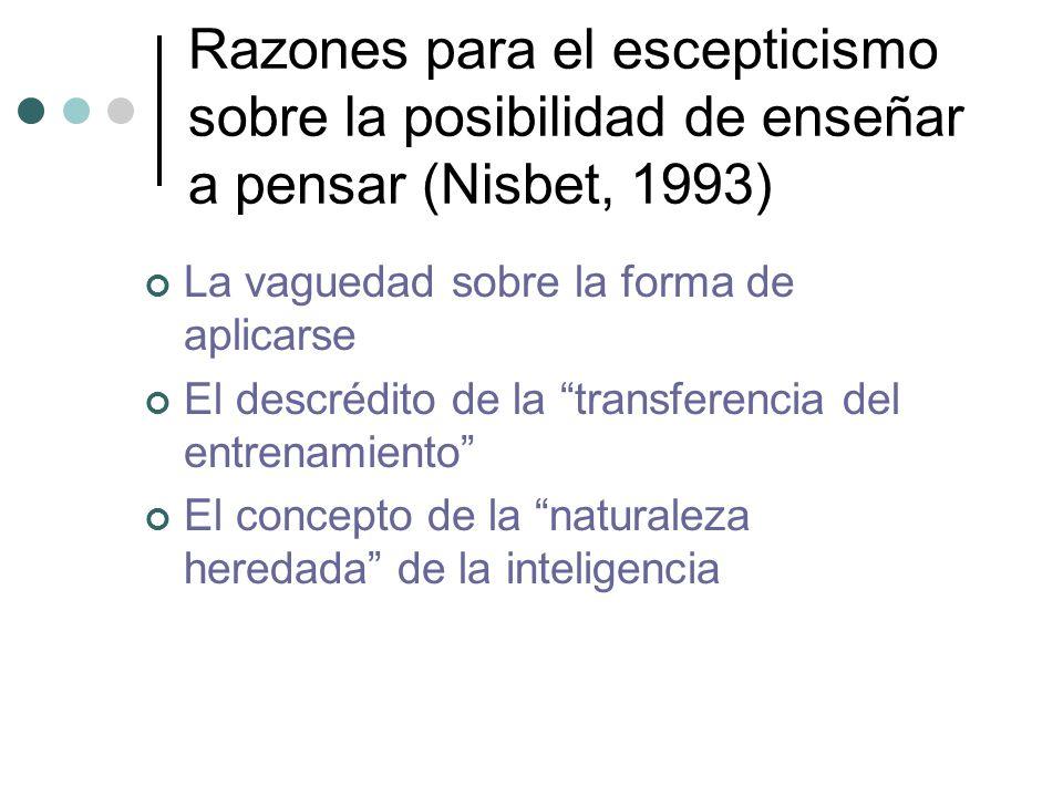 Razones para el escepticismo sobre la posibilidad de enseñar a pensar (Nisbet, 1993) La vaguedad sobre la forma de aplicarse El descrédito de la trans