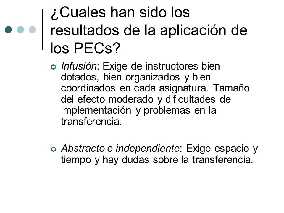 ¿Cuales han sido los resultados de la aplicación de los PECs? Infusión: Exige de instructores bien dotados, bien organizados y bien coordinados en cad