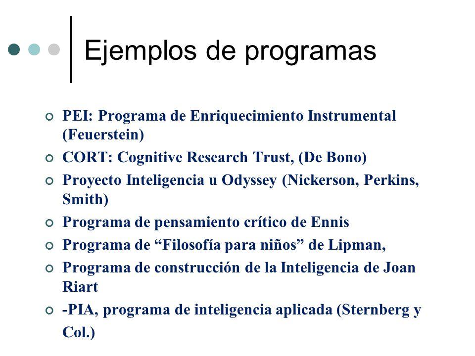 Ejemplos de programas PEI: Programa de Enriquecimiento Instrumental (Feuerstein) CORT: Cognitive Research Trust, (De Bono) Proyecto Inteligencia u Ody