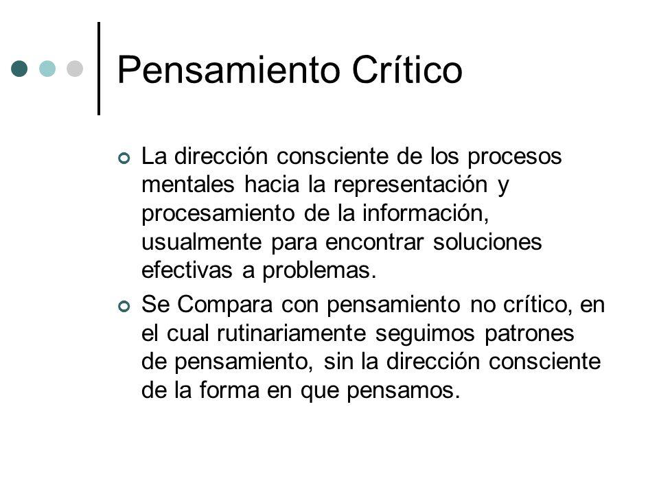Pensamiento Crítico La dirección consciente de los procesos mentales hacia la representación y procesamiento de la información, usualmente para encont