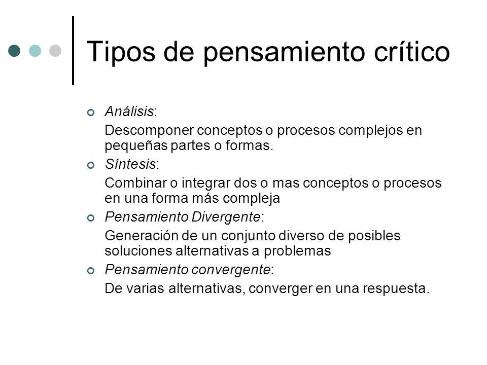 Tipos de pensamiento crítico Análisis: Descomponer conceptos o procesos complejos en pequeñas partes o formas. Síntesis: Combinar o integrar dos o mas