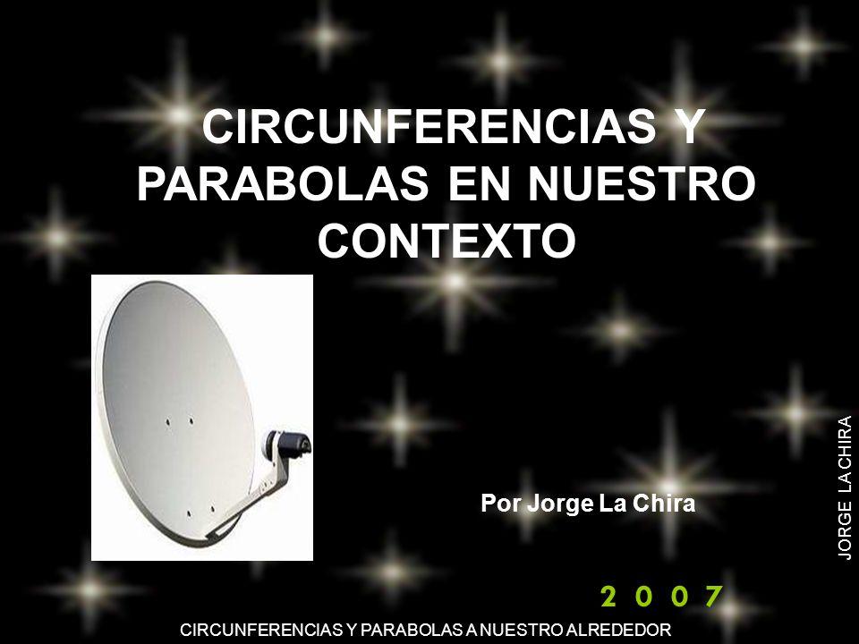 CIRCUNFERENCIAS Y PARABOLAS A NUESTRO ALREDEDOR JORGE LA CHIRA La circunferencia y la parábola son curvas que tienen una gran importancia en Física y que se ajustan a la descripción o a la representación matemática de muchos fenómenos.