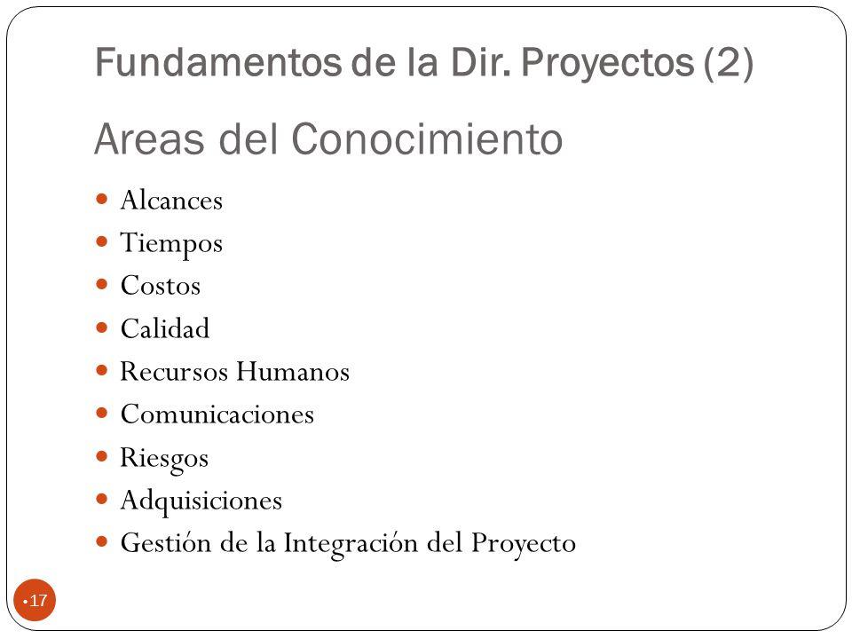 Areas del Conocimiento 17 Alcances Tiempos Costos Calidad Recursos Humanos Comunicaciones Riesgos Adquisiciones Gestión de la Integración del Proyecto Fundamentos de la Dir.